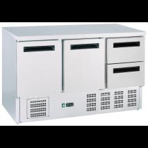 GastroStore - Kühltisch - 2 Türen und 2 Schubladen - GN1/1 - Edelstahl - energiesparend