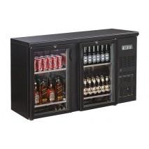 Flaschenkühltisch, schwarz, 2 Türen, 350 Liter
