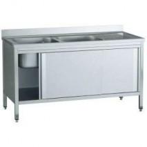 GastroStore Spuelschrank Pro 1400x700 mit 2 Becken links