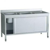 GastroStore Spuelschrank Pro 2000x700, 2 Becken links