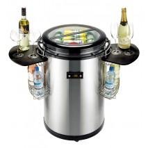 GGG GGG Party-Kuehler, Edelstahl,Ø 503x838 mm, mit 2 verstell- und klappbaren Ablagen (schwarz) inkl, Haengekoerbe fuer Flaschen