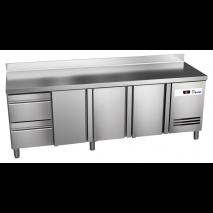 Kühltisch Ready KT4002 mit Aufkantung - 3 Türen und 2 Schubladen - GN 1/1
