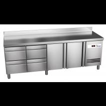 Kühltisch Ready KT4004 mit Aufkantung - 2 Türen und 4 Schubladen - GN 1/1
