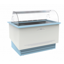 KBS Umluft Speiseeis-Verkaufstheke Divina Gelato 10, weiss und blau, mit Umluftkühlung und LED-Beleuchtung, 462110