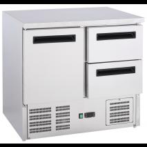 GastroStore - Kühltisch - 1 Tür und 2 Schubladen - GN1/1 - Edelstahl - energiesparend