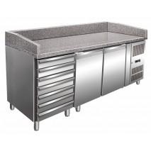 Pizzakühltisch, 2 Türen + 7 Schubladen, 428 L inkl. Kühlaufsatz