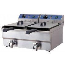 Elektro - Doppel Fritteuse 10+10 Liter ECO mit Ablasshahn