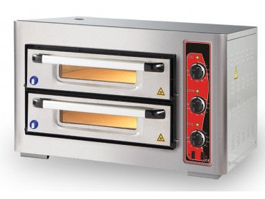 Pizzaofen für 8 Pizzen á 25cm ECO - Schamottstein - 2 Kammern - Gewerbe