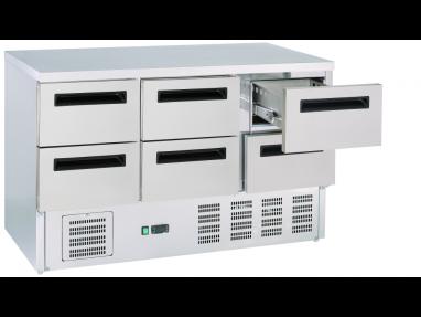 Kühltisch 6 Schubladen, GN1/1 Edelstahl Umluft