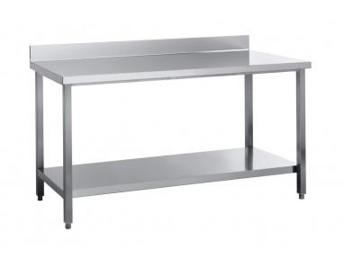 Edelstahl Arbeitstisch, 100x60, ECO Grundboden, mit Aufkantung