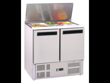 GastroStore - Saladette - 2 Türen - GN 1/1 - Edelstahl - energiesparend