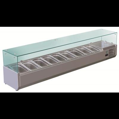 GastroStore - Kühlaufsatz - G9 - 9x GN 1/3 - mit Glasaufsatz