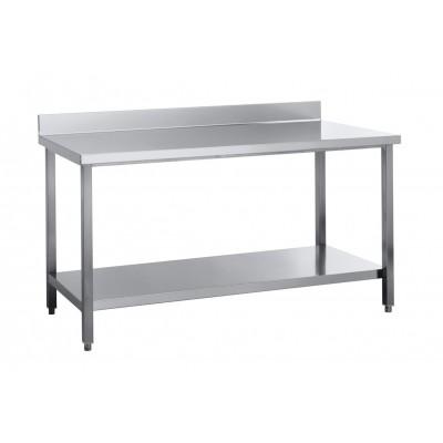Edelstahl Arbeitstisch 150x60  ECO  Grundboden mit Aufkantung