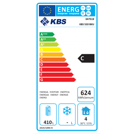 KBS Backwaren-Kühlschrank EN Norm 520 BKU, weiss, mit Umluftkühlung, 347519