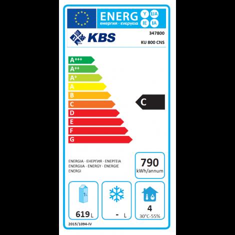 KBS Backwaren-Kühlschrank EN Norm KU 800 CNS, Edelstahl, mit Umluftkühlung und Beleuchtung, 347800