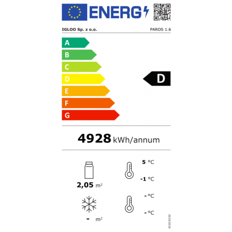 KBS Wandkühlregal Paros 160, grau, mit Umluftkühlung und LED-Beleuchtung, 520163