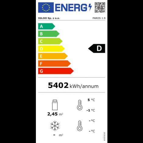 KBS Wandkühlregal Paros 190, grau, mit Umluftkühlung und LED-Beleuchtung, 520193