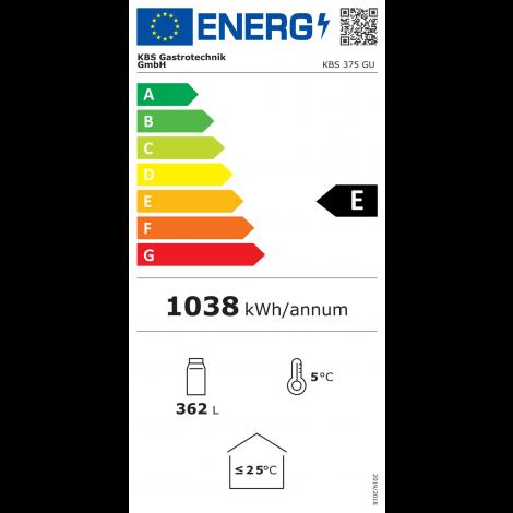 KBS Glastürkühlschrank 375 GU - 381l - schwarz - Stille Kühlung