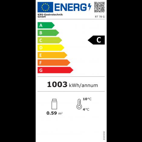 KBS Tischkühlvitrine RT-78 G, silber, mit Umluftkühlung und LED-Beleuchtung, 9160788