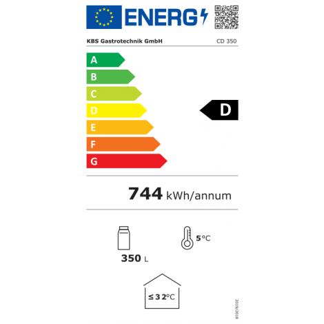 KBS Glastürkühlschrank CD 350, weiss, mit Umluftkühlung und LED-Beleuchtung, 9190005