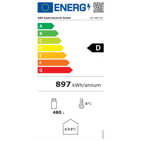 KBS Glastürkühlschrank CD 480 GU, silber, mit Umluftkühlung und Beleuchtung, 9190485