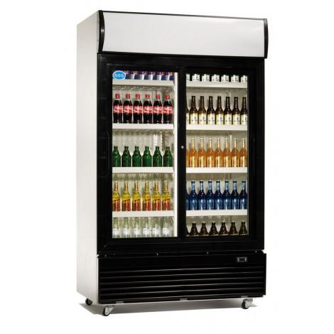 GGG Glastürkühlschrank, schwarz, mit Umluftkühlung und Beleuchtung, LG-400