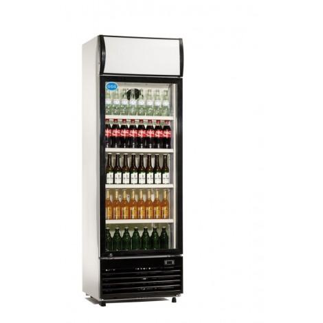 GGG Glastürkühlschrank, schwarz, mit Umluftkühlung und Beleuchtung, LG-430F