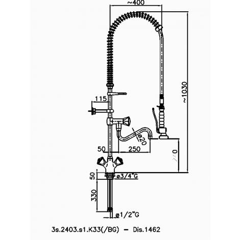Klarco Geschirrwaschbrause - Schwenkhahn - Einloch-Mischbatterie