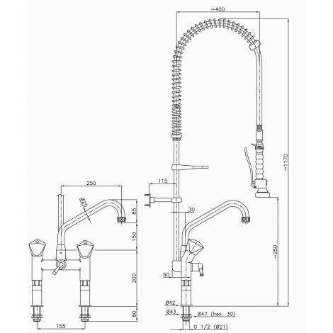 Klarco Geschirrwaschbrause - Schwenkhahn - Lochabstand 155 mm