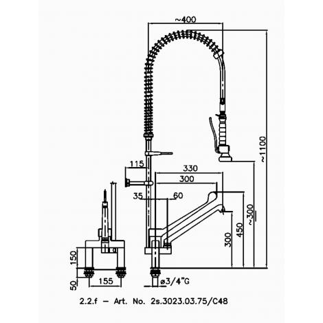 Klarco Geschirrwaschbrause für Zweiloch-Montage
