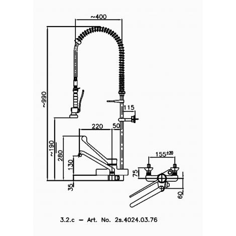 Klarco Geschirrwaschbrause mit Einhebelmischer und Spiralfeder