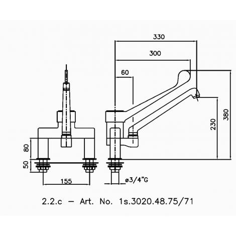 Klarco Mischbatterie für Zweiloch-Montage