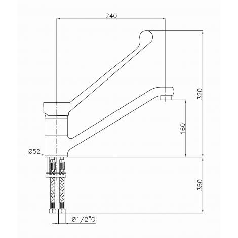 Klarco Mischbatterie mit Schwenkhahn für Einloch-Montage