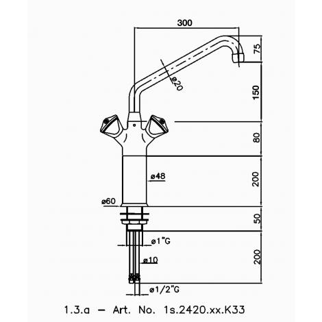 Klarco Mischbatterie mit Schwenkhahn für ø 35mm Lochbohrung