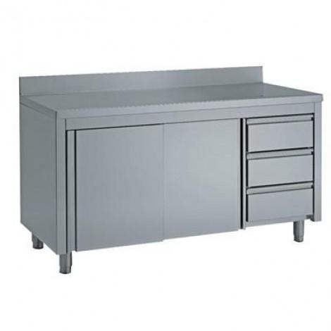Edelstahl Arbeitsschrank mit Schubladen & Aufkantung Pro 1600x700