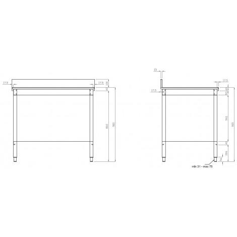 Edelstahl Arbeitstisch PRO 100x70  mit Aufkantung vollverschweißt