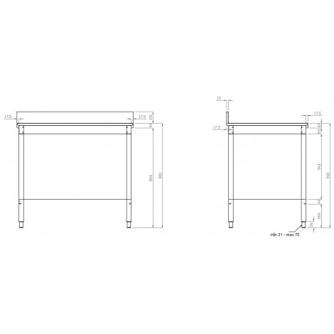 Edelstahl Arbeitstisch PRO 120x70 mit Aufkantung vollverschweißt