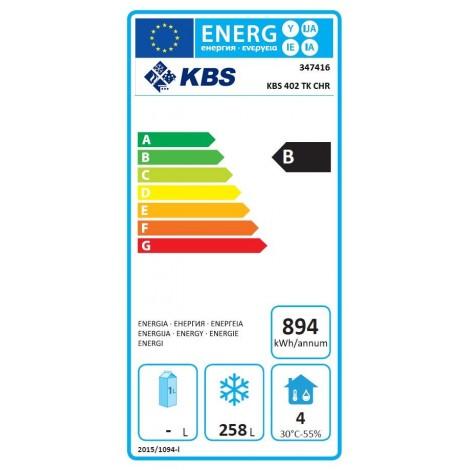 Edelstahl-Volltür-Tiefkühlschrank - 361l - Stille Kühlung