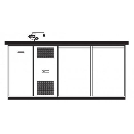KBS Getränketheke Bergamo mit 2 Türen & 2 Becken