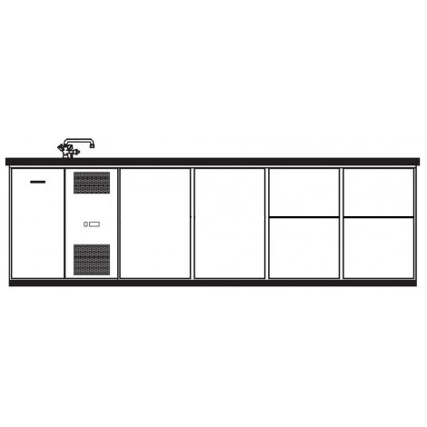 KBS Getränketheke Napoli mit 2 Türen und 4 Schubladen