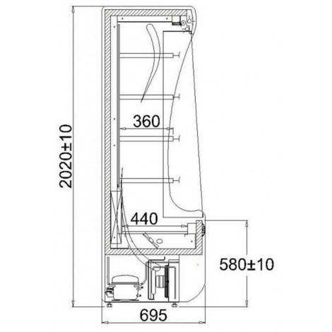 KBS Wandkühlregal Paros 130, grau, mit Umluftkühlung und LED-Beleuchtung, 520133