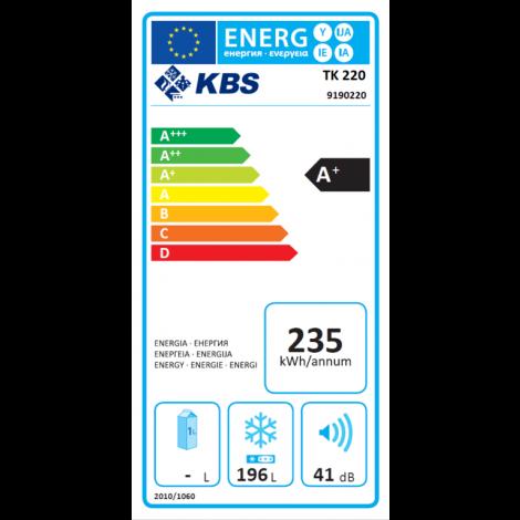 KBS Tiefkühlschrank TK 220 Energiesparausführung, weiss, mit Stiller Kühlung und keine Beleuchtung, 9190220