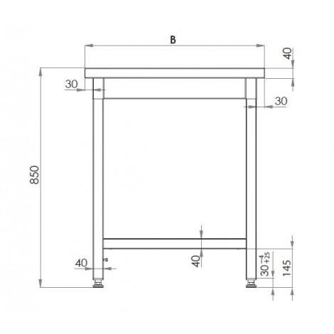 Edelstahl Arbeitstisch 60x70 ECO Grundboden ohne Aufkantung