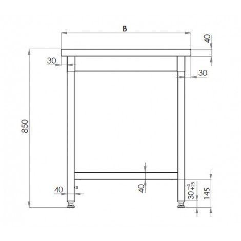 Edelstahl Arbeitstisch 80x60 ECO Grundboden ohne Aufkantung