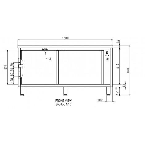 GGG Wärmeschrank 1600x700 ohne Aufkantung, GG1082